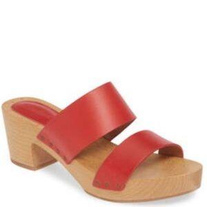 Madewell The Clara Clog Sandal Red 8